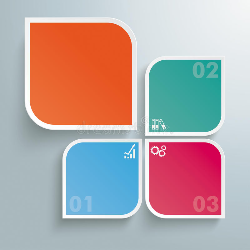 Round Colored Quadrates Template 3 Options Big One royalty free illustration