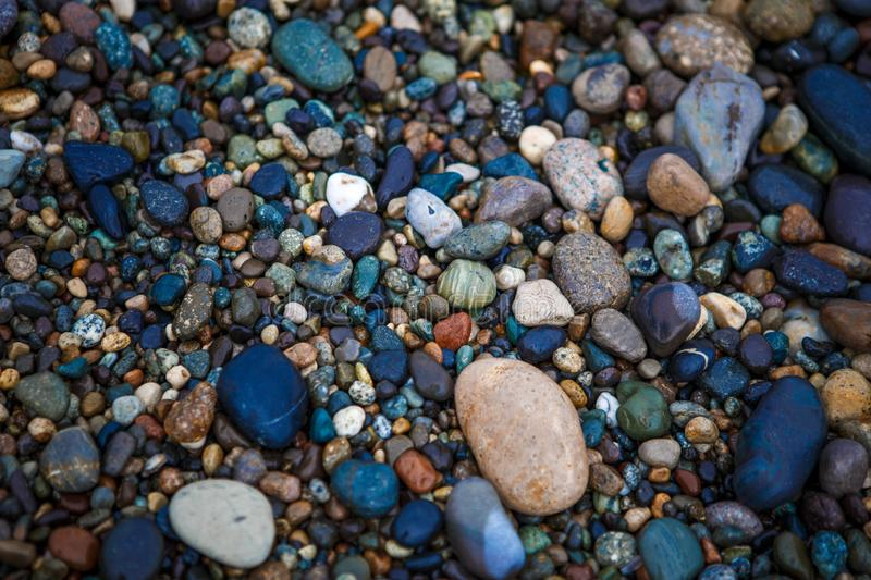 Round colored stones pebbles, snail on the stone. stock image