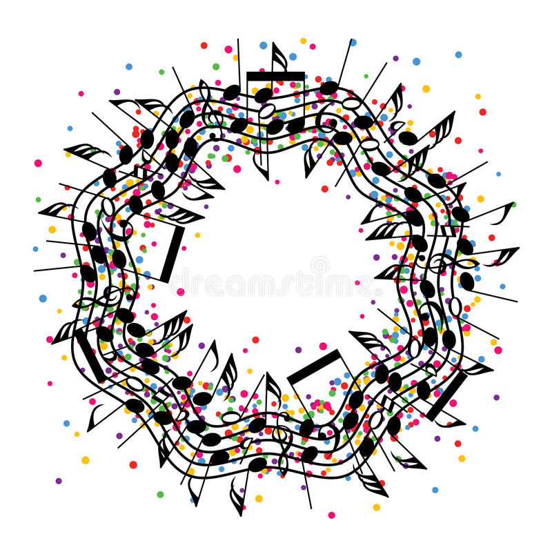Free Round Colorful Background Of Music Notes, Vector Royalty Free Stock Images - 87604449