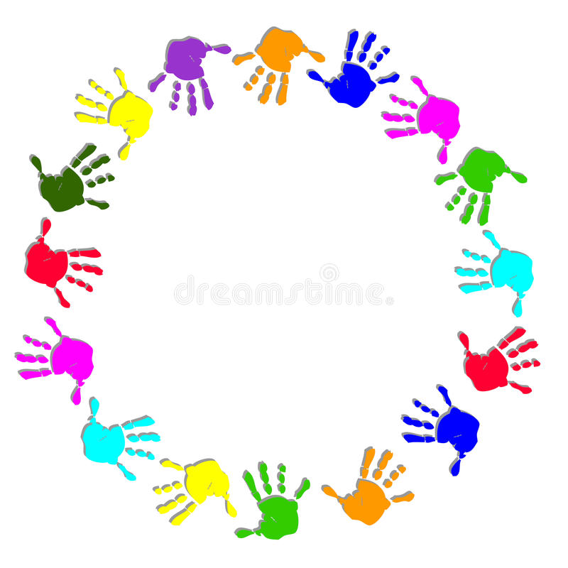 Round colorful hand frame stock illustration