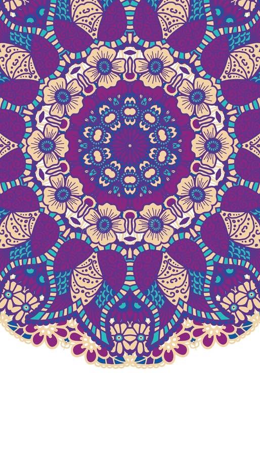 Round colorful mandala. Round colorful mandala design. Creative vector illustration stock illustration