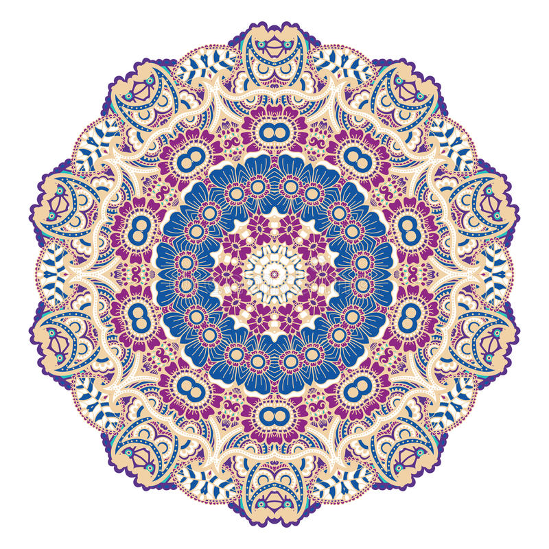 Round colorful mandala. Round colorful mandala design. Creative vector illustration royalty free illustration