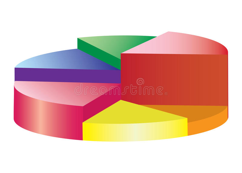 Round coloured pie diagramm. With six sektors on the white background vector illustration