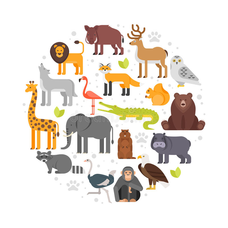 Round composition of zoo animals icons. Vector flat style round composition of zoo animals icons. Isolated on white background stock illustration