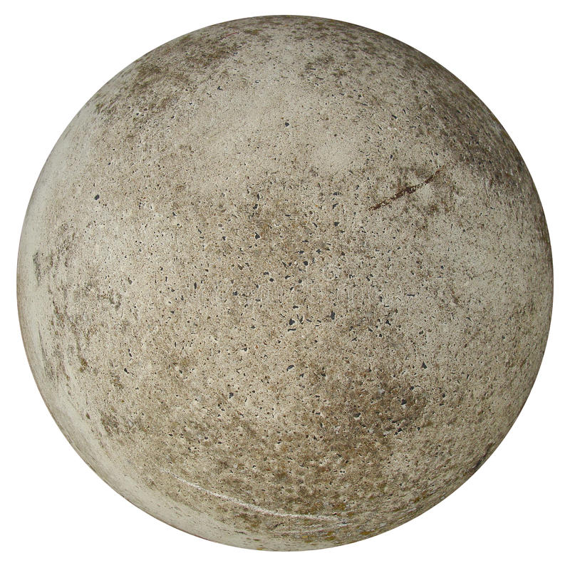 Round concrete stone ball. Round concrete ball on a white background resembling earth stock image