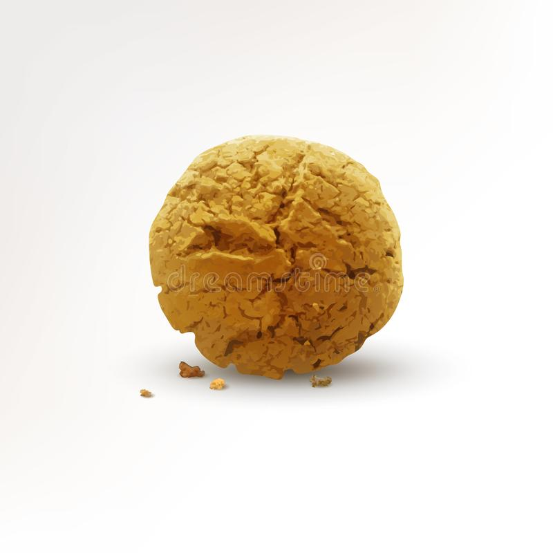 Round cookie with crumbs isolated on white background. Realistic vector illustration stock illustration