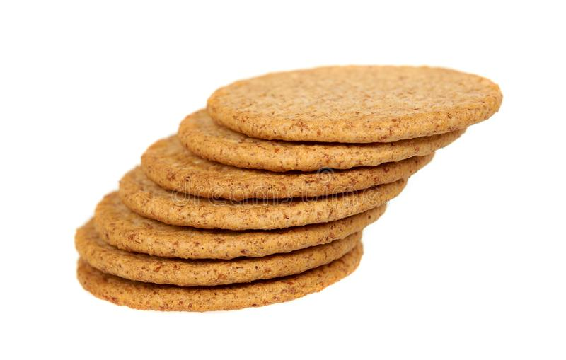 Round cookies with whole wheat. Healthy snack stock images