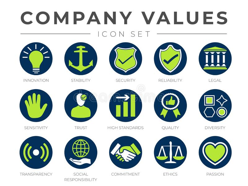 Round Core Values Business Company Icon Set. Innovation, Stability, Security, Reliability, Legal, Sensitivity, Trust, High stock illustration