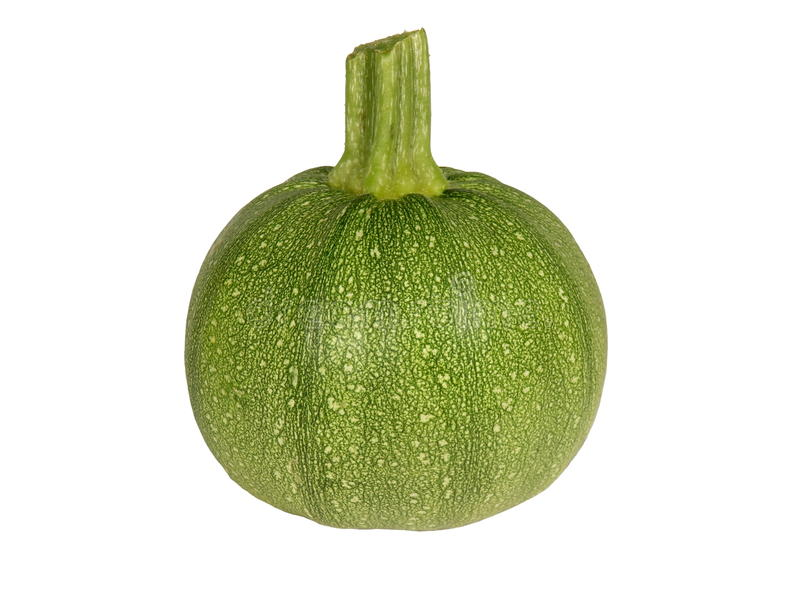 Round Courgette. Close up of a mature round courgette & x28;zucchini& x29; isolated on white royalty free stock photography