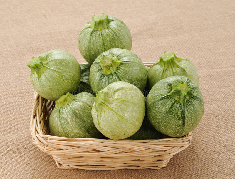 Round courgettes in the basket