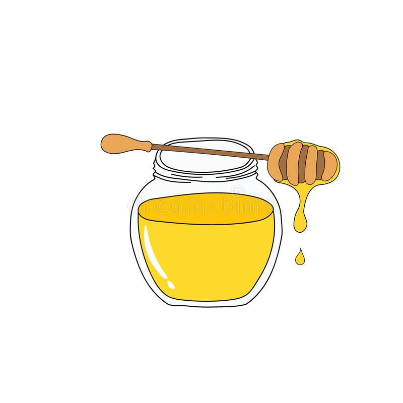 Round crystal jar with golden honey wooden dipper with dripping nectar. Hand drawn doodle vector illustration in kids cartoon royalty free illustration