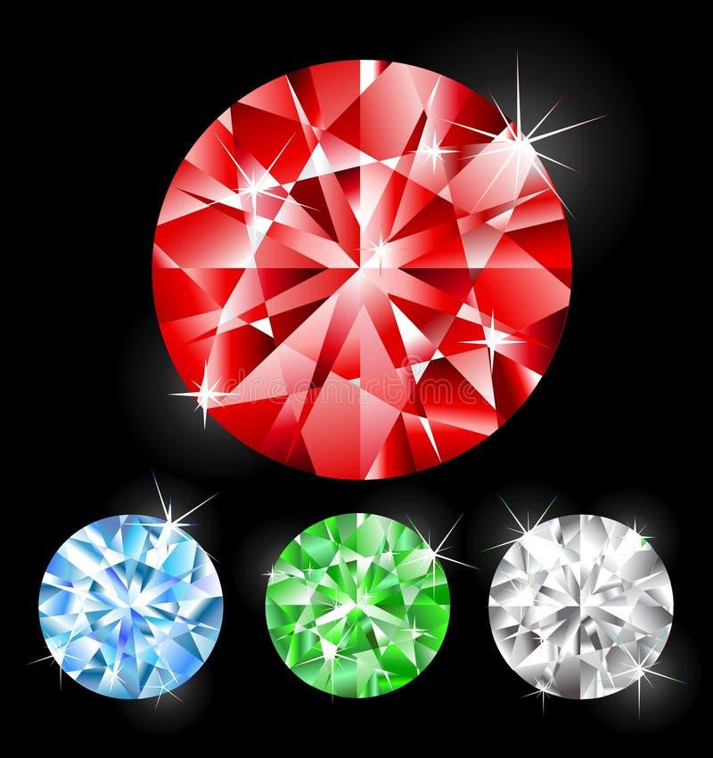 Round cut stones. Round jeweller jewels: ruby, emerald, diamond, sapphire vector illustration