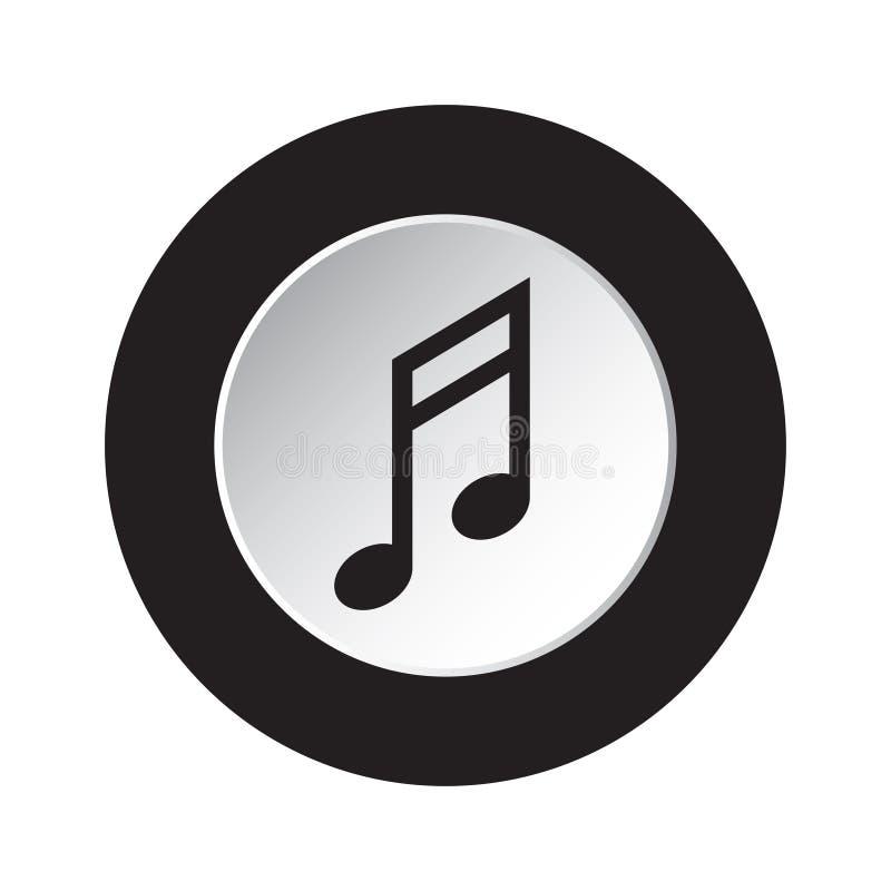 Round czarna, biała guzik ikona, - muzykalna notatka royalty ilustracja
