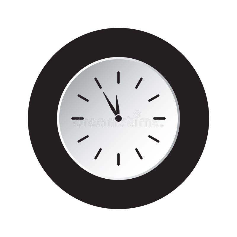 Round czarna, biała guzik ikona, - w ostatniej chwili zegar royalty ilustracja