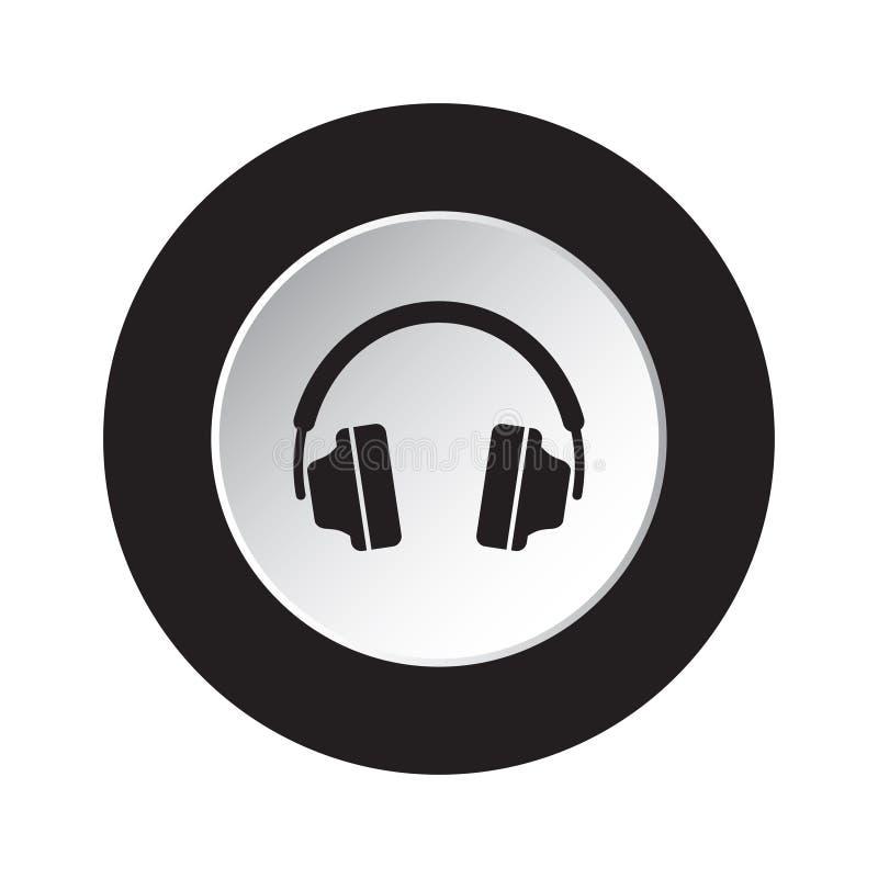 Round czarna, biała guzik ikona z hełmofonami, ilustracji