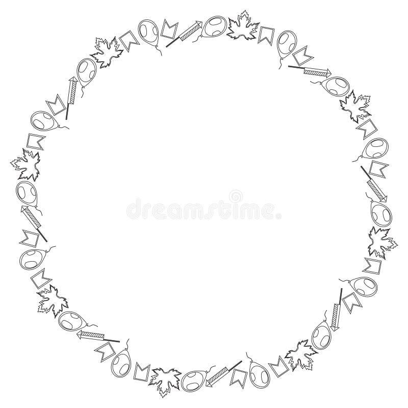 Round czarny i biały sztandar dla Kanada dnia Inskrypcja otacza mali liście klonowi, flagi, piłki i petardy, royalty ilustracja
