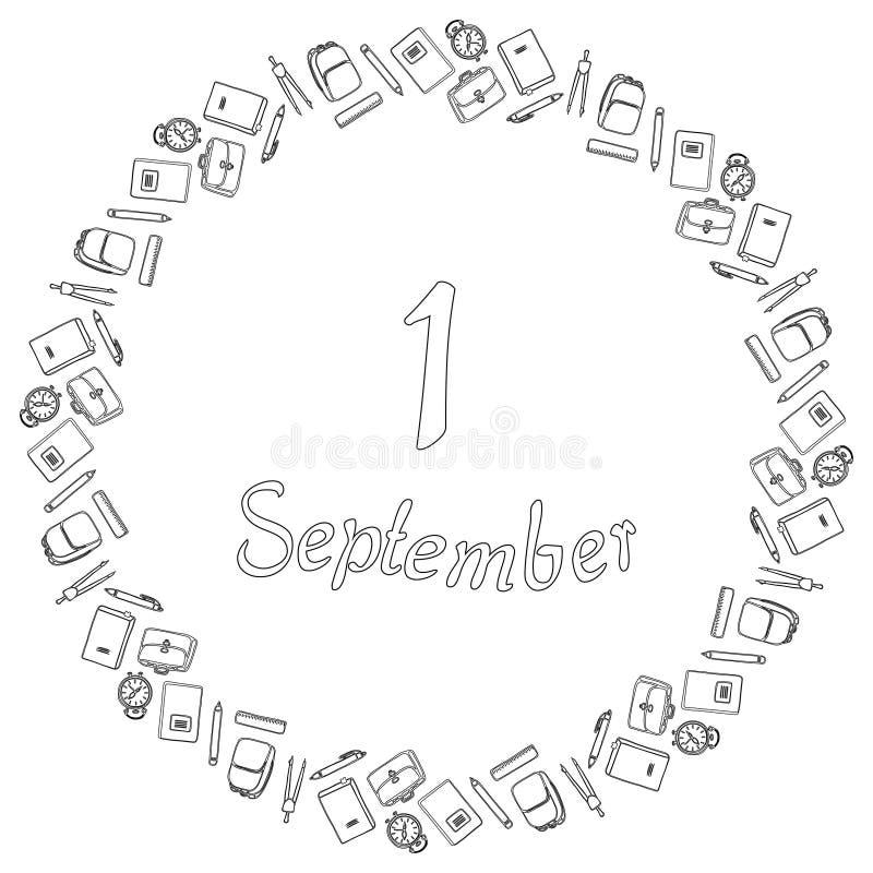 Round czarny i biały sztandar od inskrypcji Wrzesień 1, otaczającej ołówkami, pióra, kompasy, budziki, notatnik ilustracji