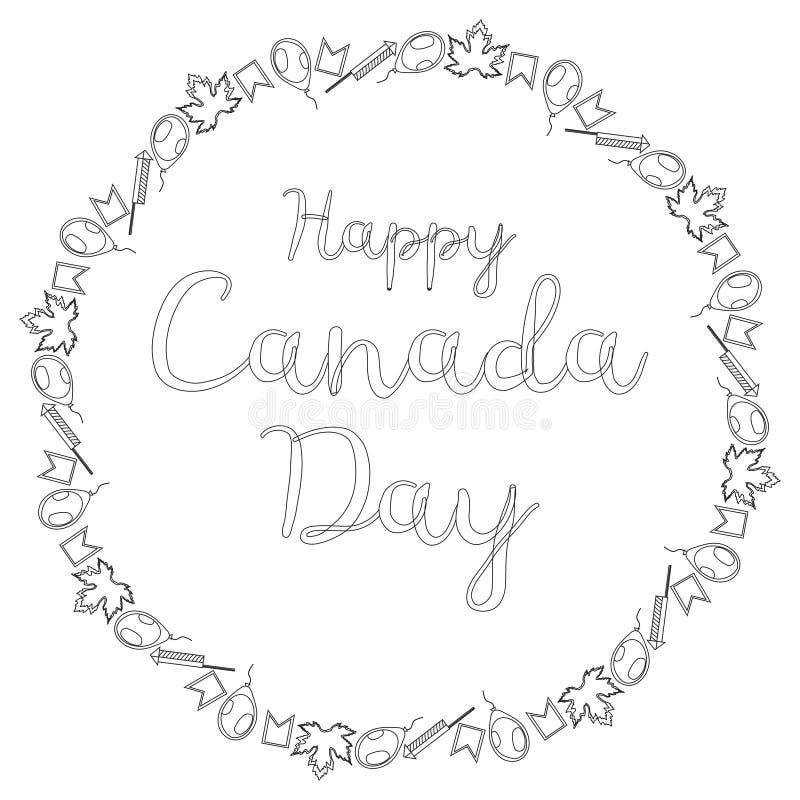 Round czarny i bia?y sztandar dla Kanada dnia Inskrypcja otacza a mali liście klonowi, flagi, piłki i firecrack, ilustracja wektor