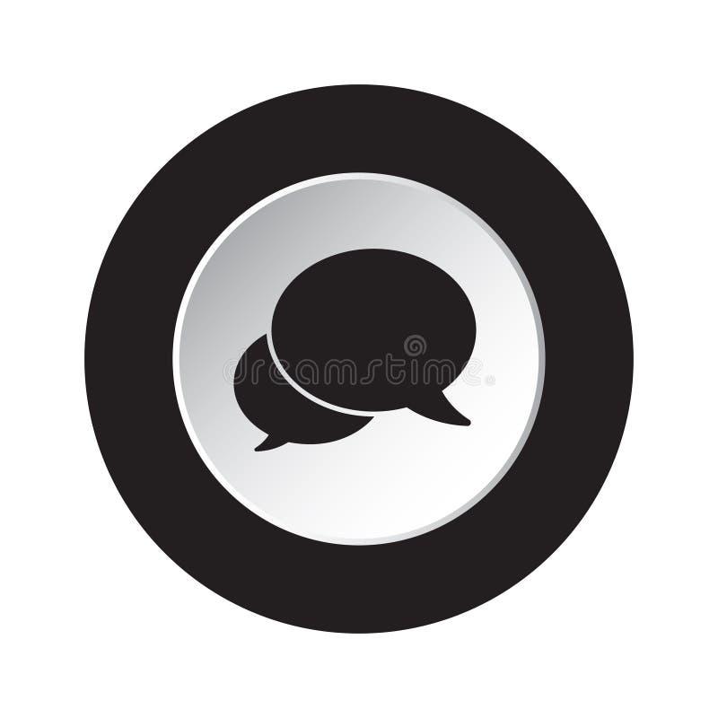 Round czerń, biała guzik ikona, dwa mowa bąbla ilustracja wektor