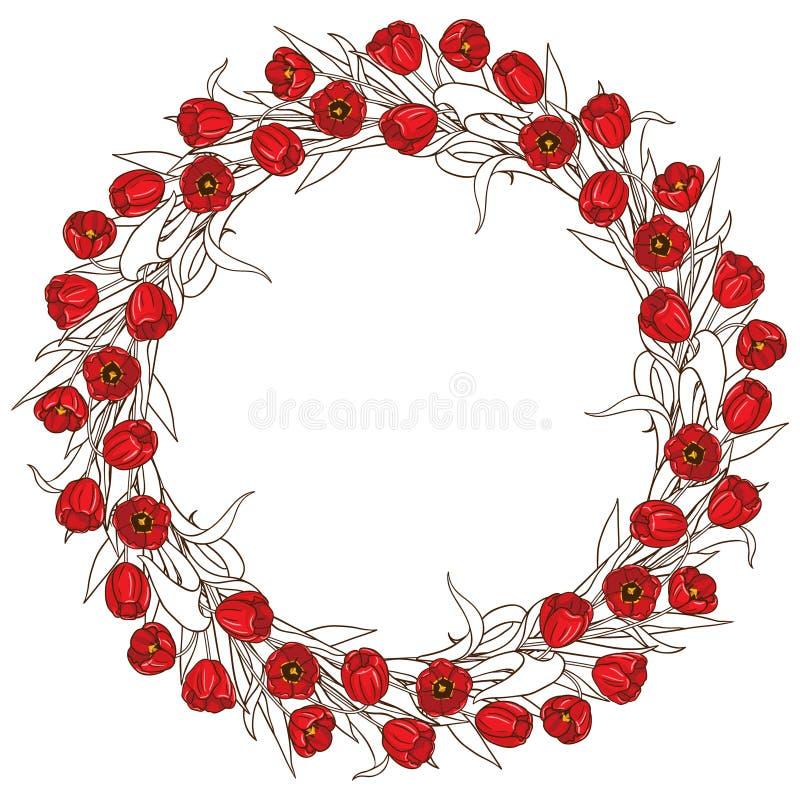 Round Czerwona tulipan rama ilustracja wektor