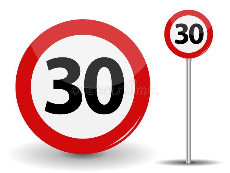 Round Czerwony Drogowego znaka prędkości ograniczenie 30 kilometrów na godzinę również zwrócić corel ilustracji wektora royalty ilustracja