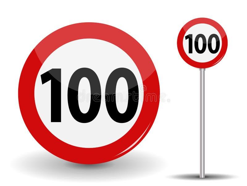 Round Czerwony Drogowego znaka prędkości ograniczenie 100 kilometrów na godzinę również zwrócić corel ilustracji wektora ilustracji