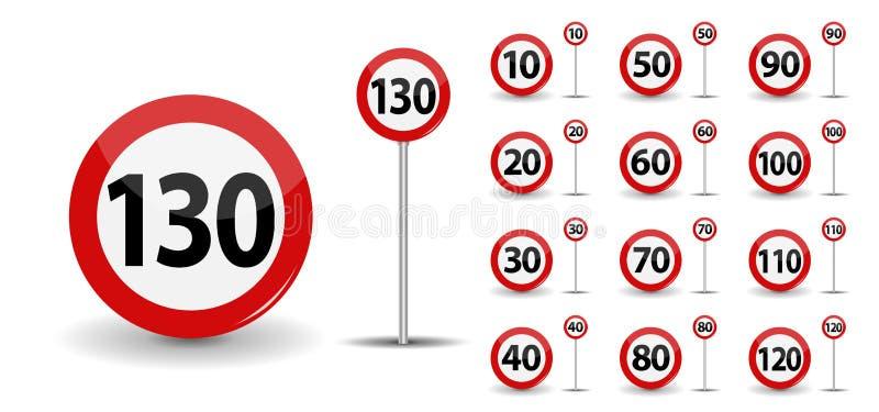 Round Czerwony Drogowego znaka prędkości ograniczenie 10-130 kilometrów na godzinę również zwrócić corel ilustracji wektora royalty ilustracja