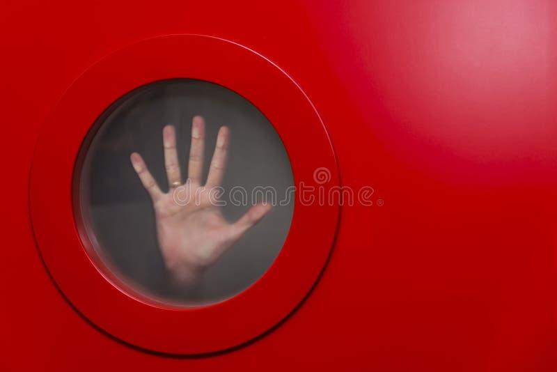 Round czerwony porthole obrazy royalty free