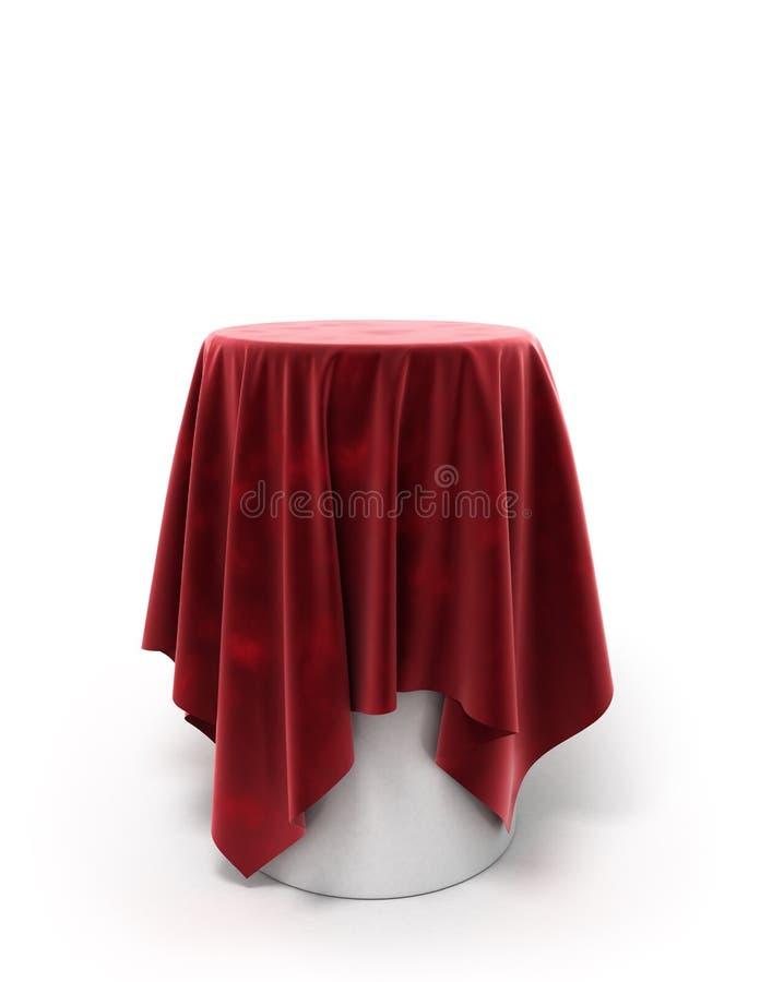 Round czerwony velor płótno na round piedestale odizolowywającym na bielu ilustracja wektor