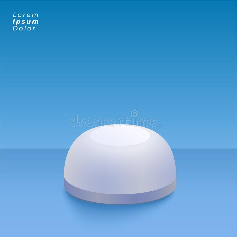 Round 3d object on blue studio background royalty free illustration