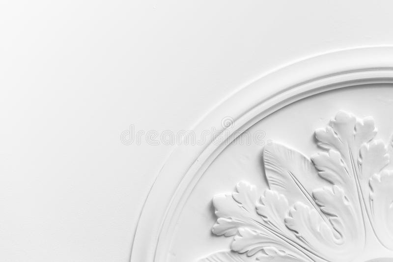 Round decorative clay stucco relief molding stock image