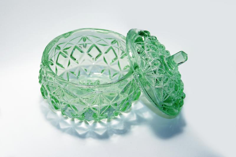Very old green glass bowl royalty free stock images