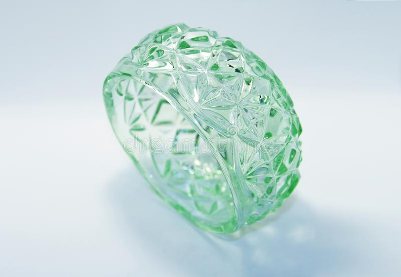 Very old green glass bowl royalty free stock photography