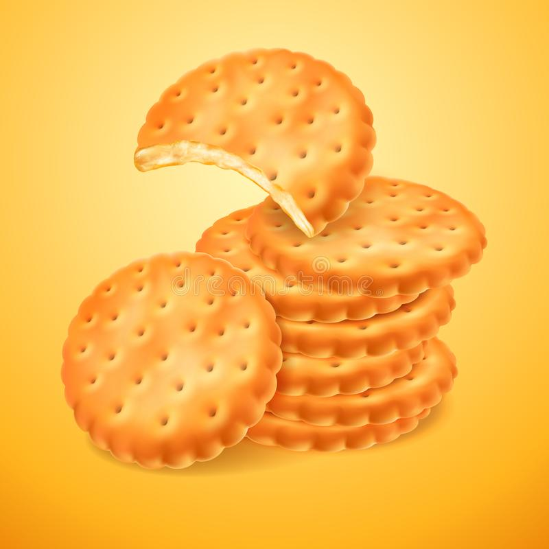 Round delicious cookies or crackers isolated on yellow background. The bitten shape of biscuit. Crispy baking. Vector 3d royalty free illustration