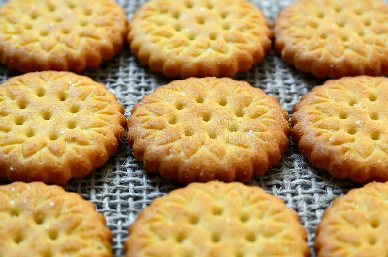 Round delicious salty crackers cookies on a burlap cloth as a background.Crispy baking.Classic snack concept. stock photo