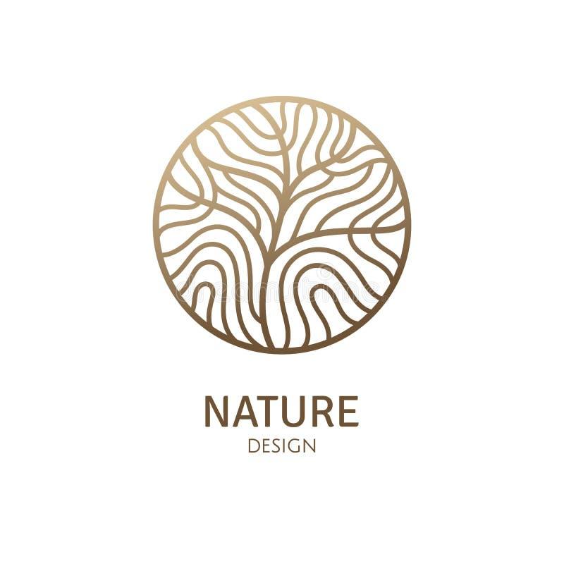 Round deseniowy logo drzewo ilustracja wektor