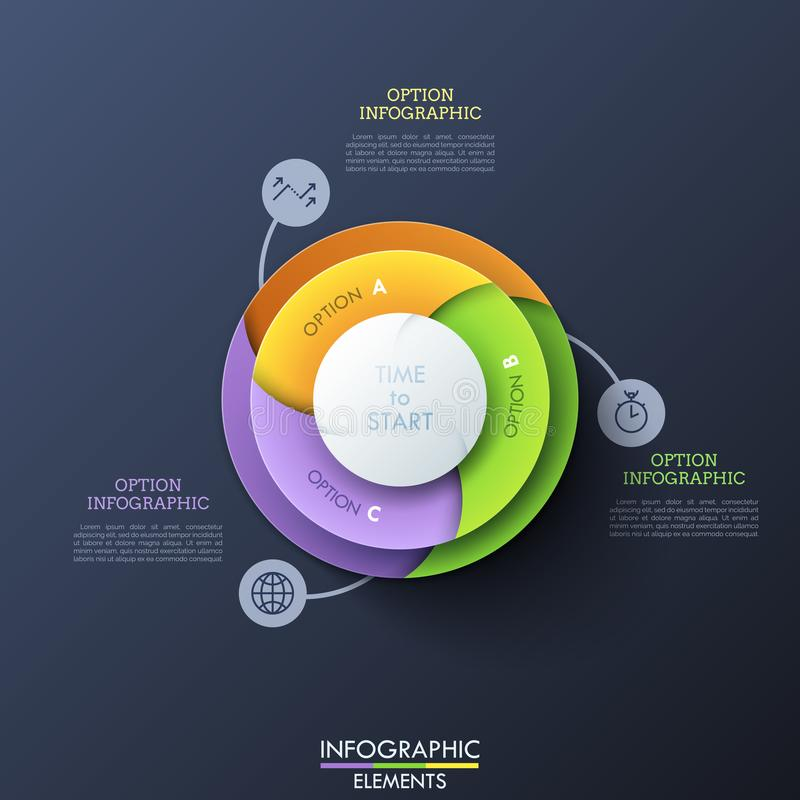 Round diagram divided into 3 colorful spiral sectors connected with thin line icons and text boxes. Element of website. Interface. Creative infographic design vector illustration