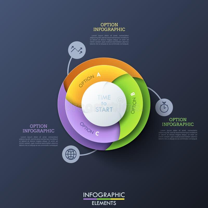 Round diagram dzielący w 3 kolorowego ślimakowatego sektoru łączącego z cienkimi kreskowymi ikonami i tekstów pudełkami Element s ilustracja wektor