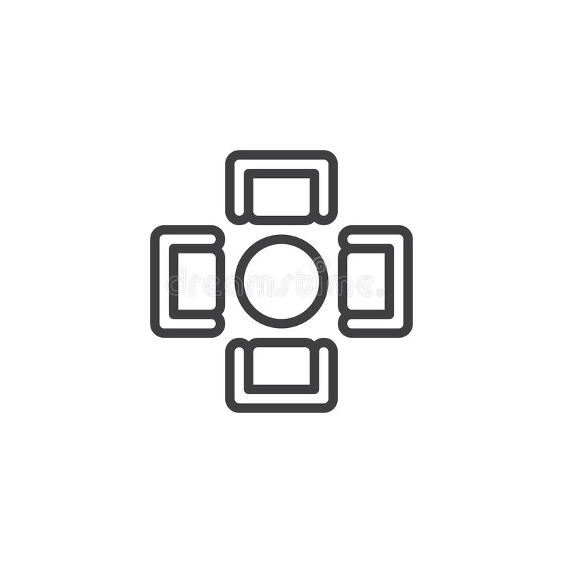 Round dining table with armchairs top view outline icon royalty free illustration