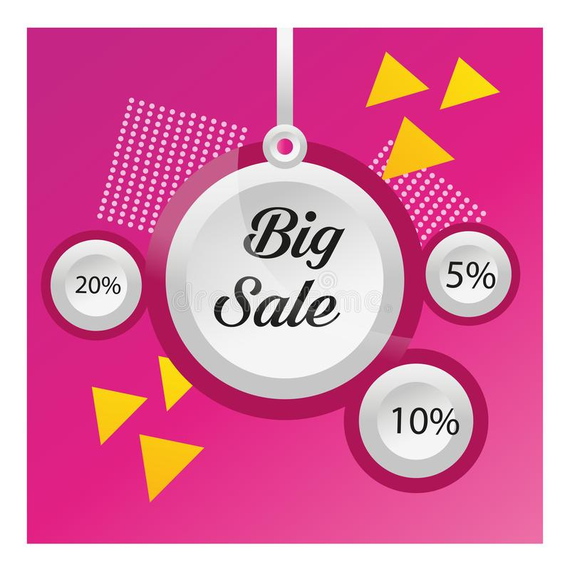 Round discount tags on purple abstract background. Sale banner template design. Big sale special offer. 5%, 10%, 20% special offer vector illustration