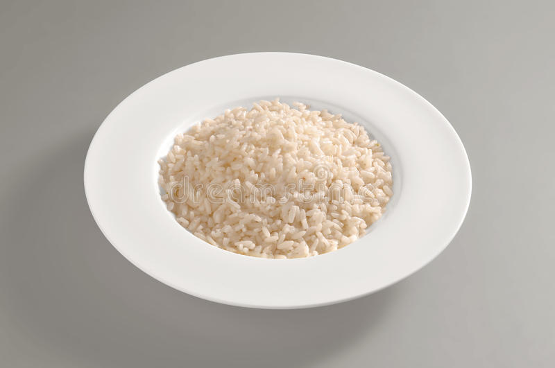 Round dish with only boiled rice stock photos
