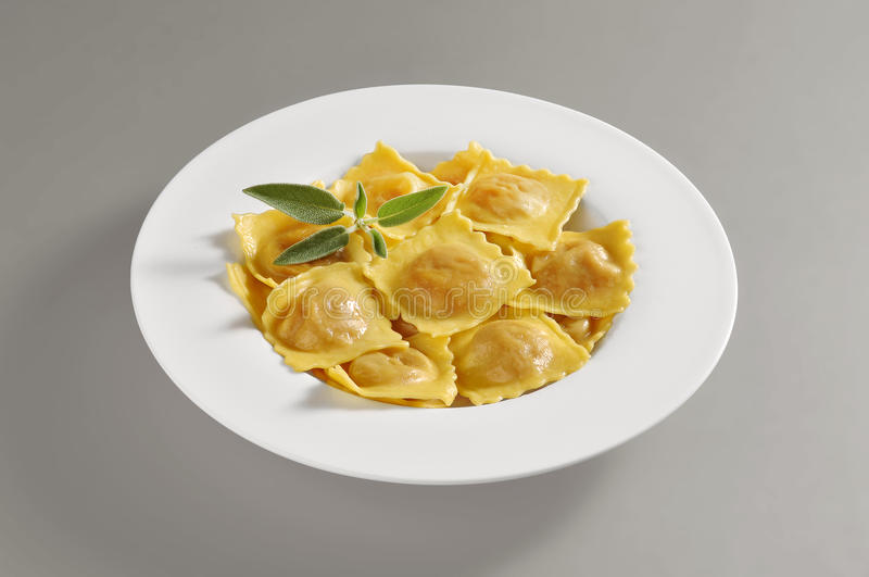 Round dish with a portion of pumpkin tortelli pasta. Round dish with a portion of tortelli pasta isolated on grey background royalty free stock images