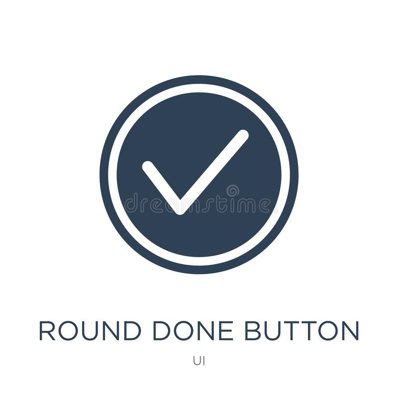 Round done button icon in trendy design style. round done button icon isolated on white background. round done button vector icon. Simple and modern flat symbol vector illustration