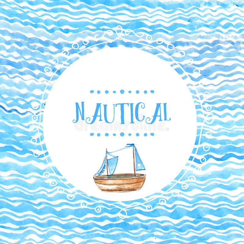 Round doodle ramy ręka rysująca na morze fala akwareli tle z drewnianym statkiem Wektorowy artystyczny tło ilustracja wektor