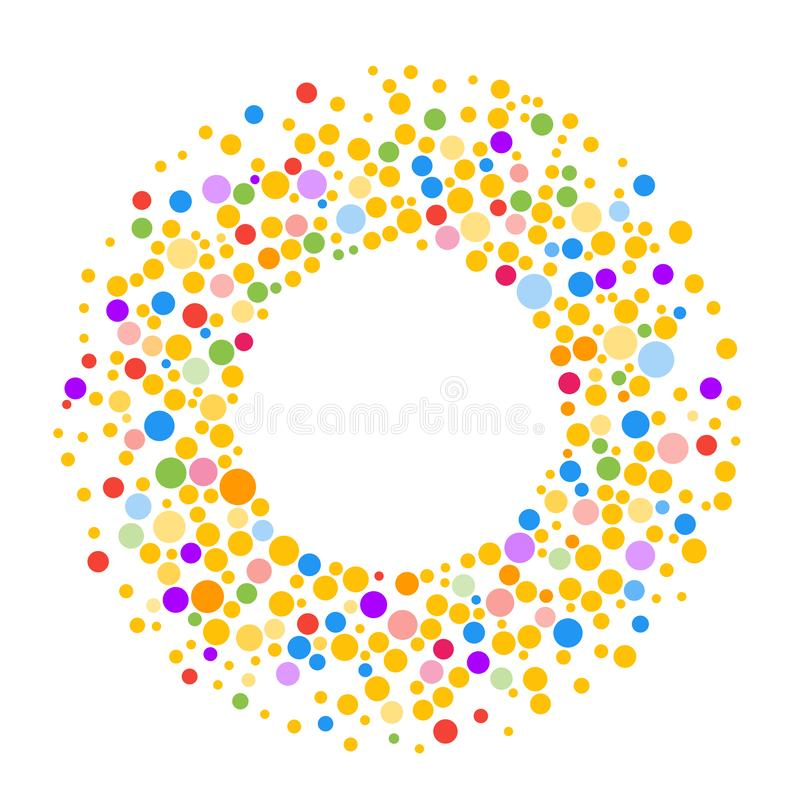 Round dots frame with empty space for your text. Made of colorful spots or dots of various size. Circle shape background. Round dots frame with empty space for vector illustration