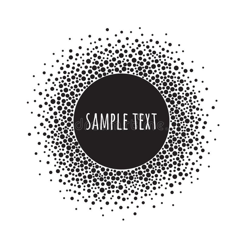Round dotted pattern with space for text. Black and white vector abstract background. Round dotted pattern with space for text. Spots of various size. Black and royalty free illustration