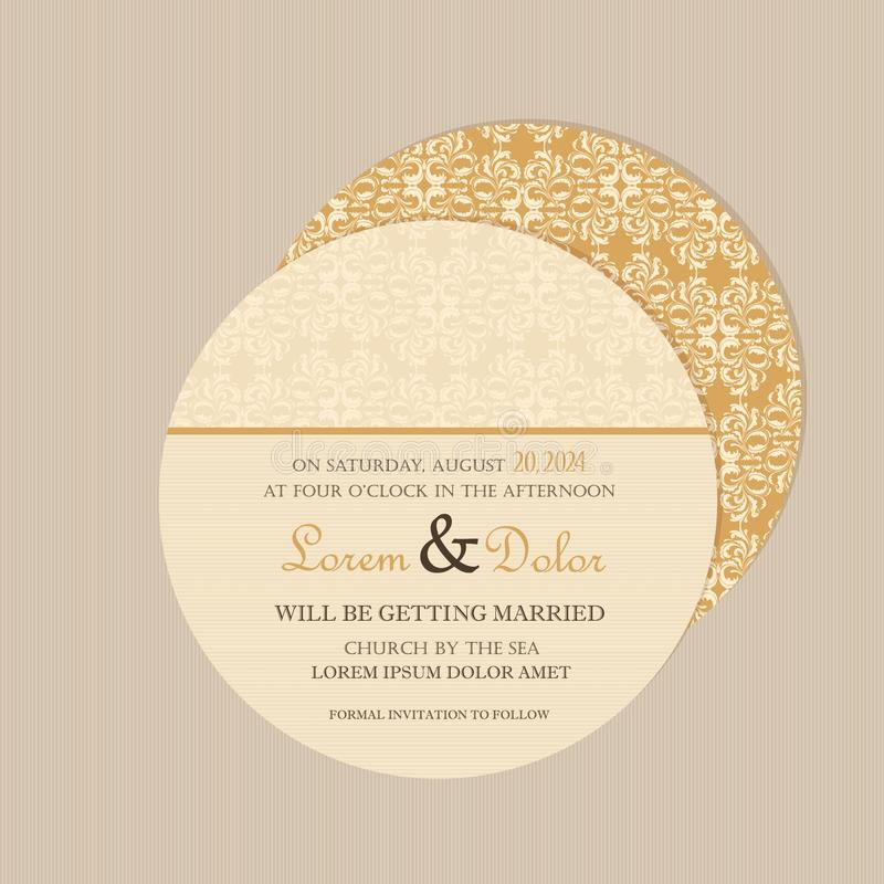Round, double-sided floral save the date card royalty free illustration