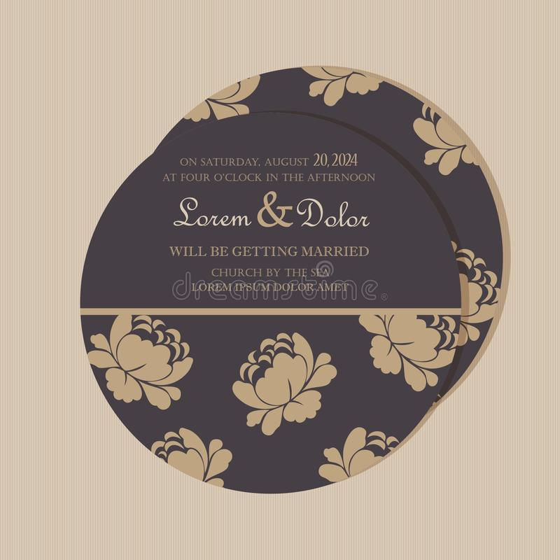 Round, double-sided floral save the date card stock illustration
