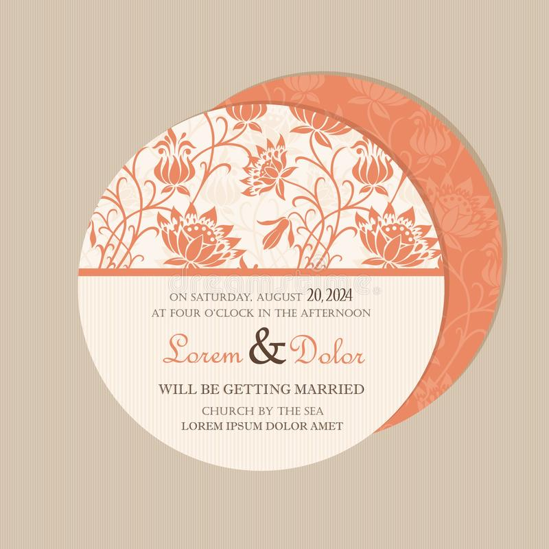 Round, double-sided floral save the date card vector illustration