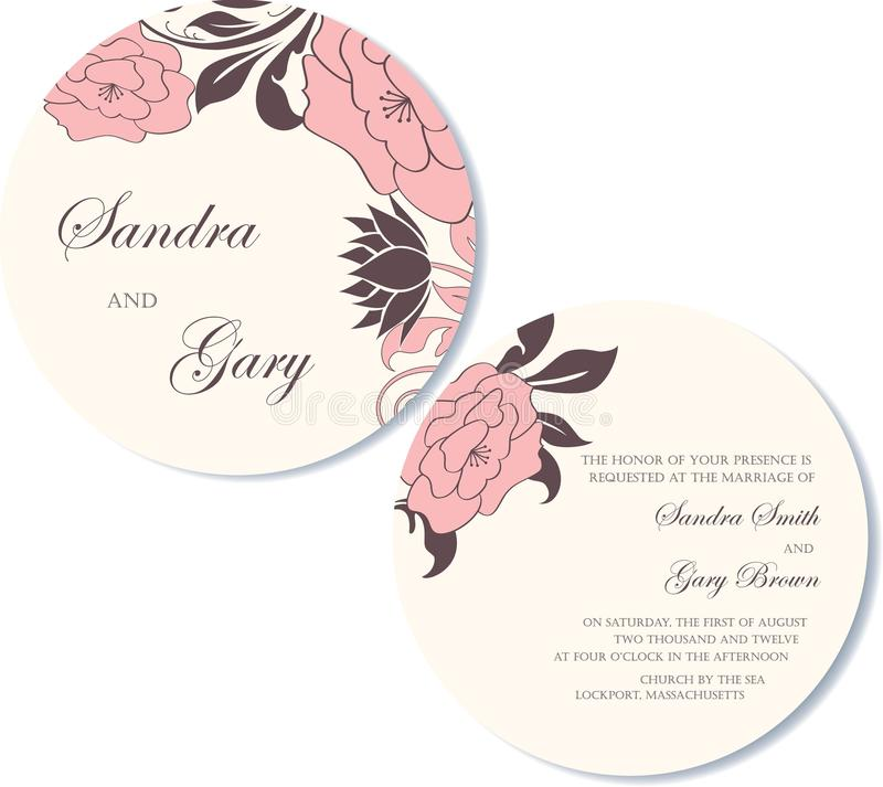 Round, double-sided floral wedding invitation. Card royalty free illustration